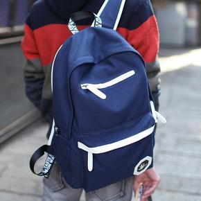 韩版双肩包男士时尚潮流帆布休闲背包旅行包大学生初中学生书包男