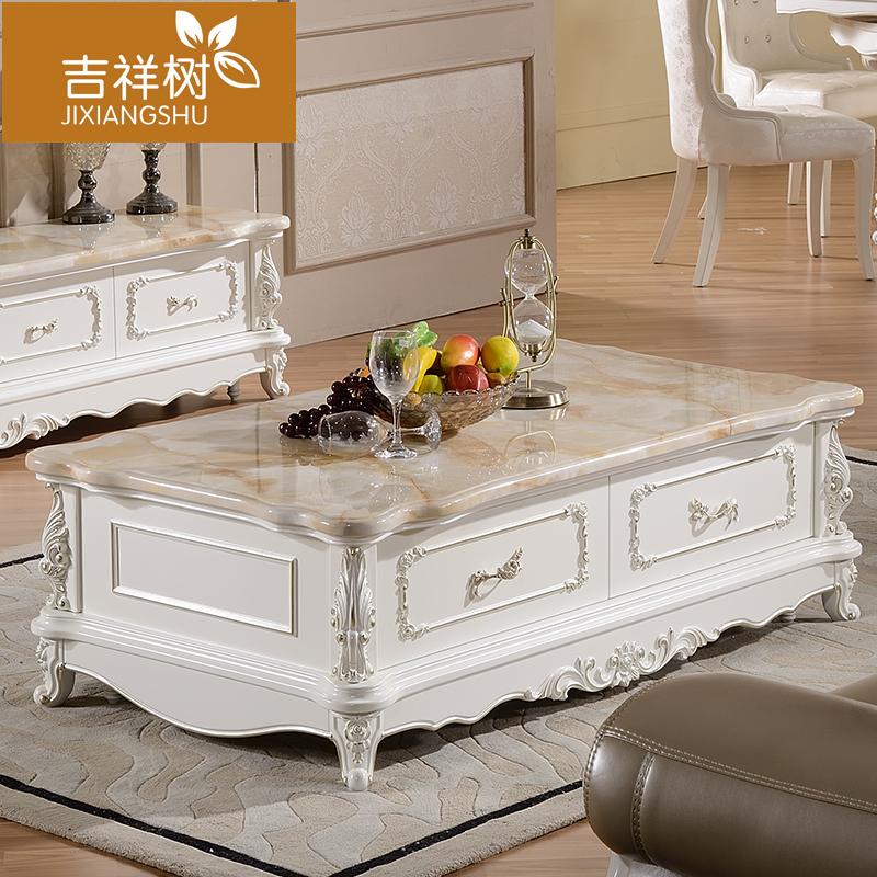 欧式大理石茶几电视柜组合实木雕花长方形客厅大小