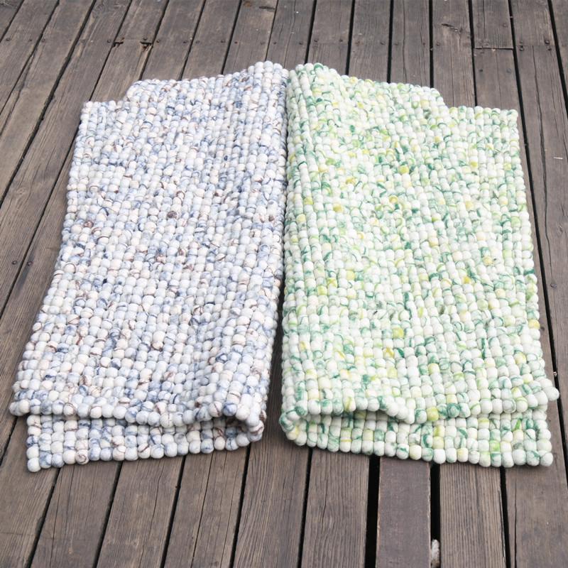 包邮尼泊尔手工羊毛毡球球地垫坐垫蒲团垫子方形90cm