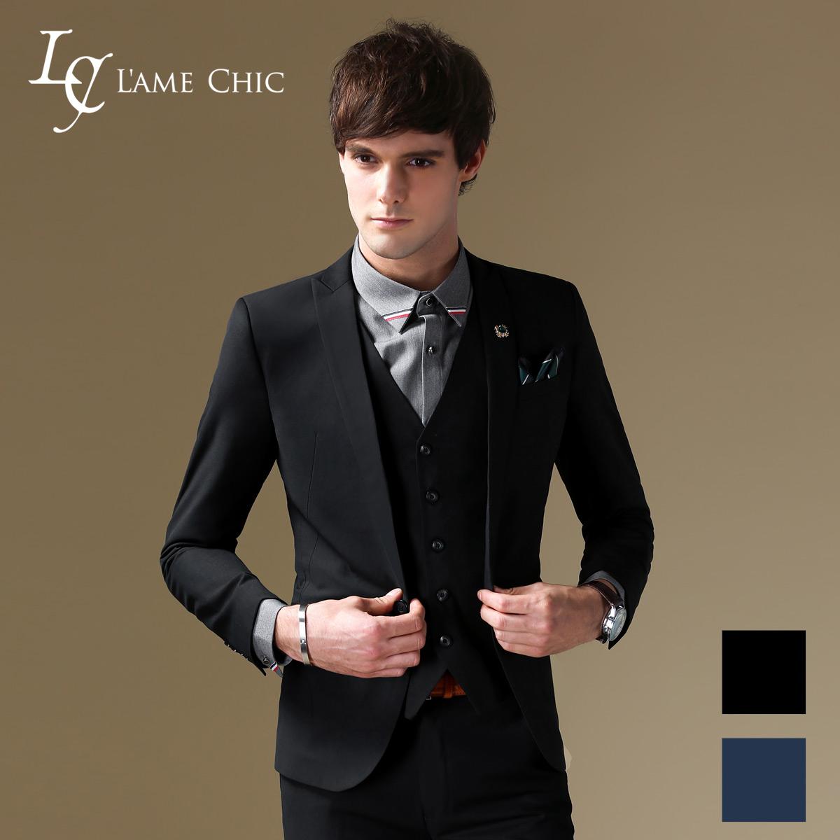 L'AME CHIC欧美西服成套装男士修身西装男职业商务正装西服男结婚