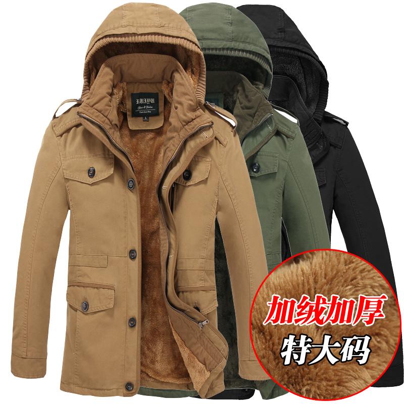男士纯棉衣外套特价清仓秋冬季加绒加厚中长夹克韩版修身帅气外衣