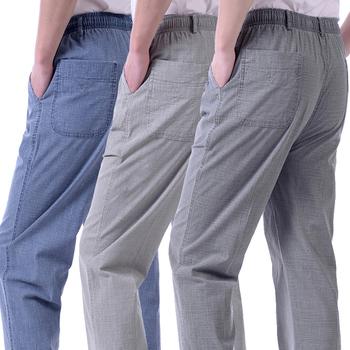 夏季薄款中老年人男裤高腰宽松中