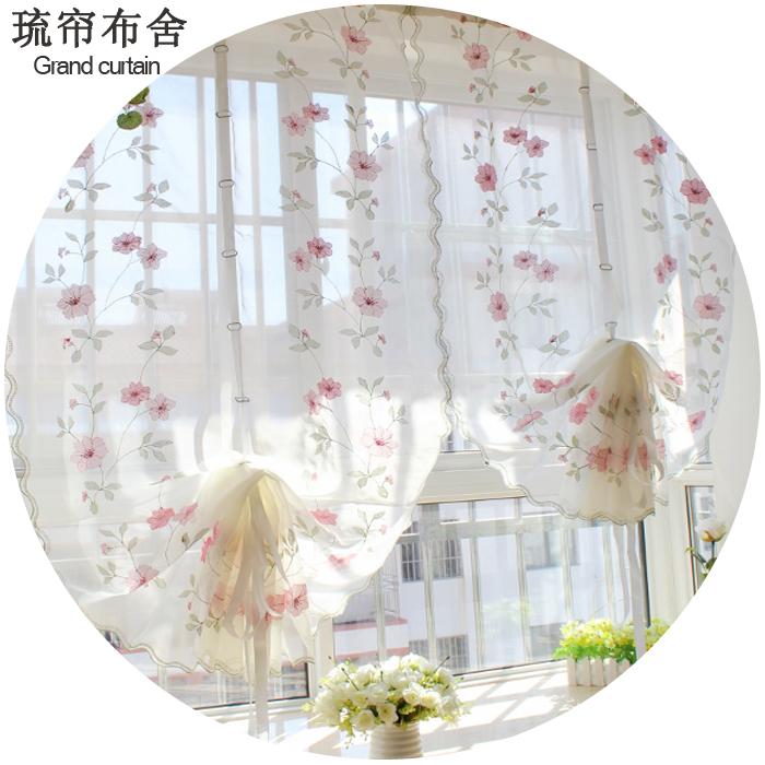 欧式卫生间窗帘成品客厅阳台扇形窗帘纱窗半帘提拉帘