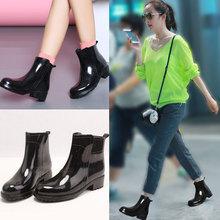 中筒胶鞋 套鞋 棉雨鞋 女式雨靴成人防滑水鞋 秋冬加绒加厚短筒时尚
