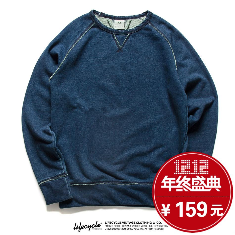 LifeCycle秋简约纯色圆领休闲运动卫衣 轻复古蓝染INDIGO男士外套