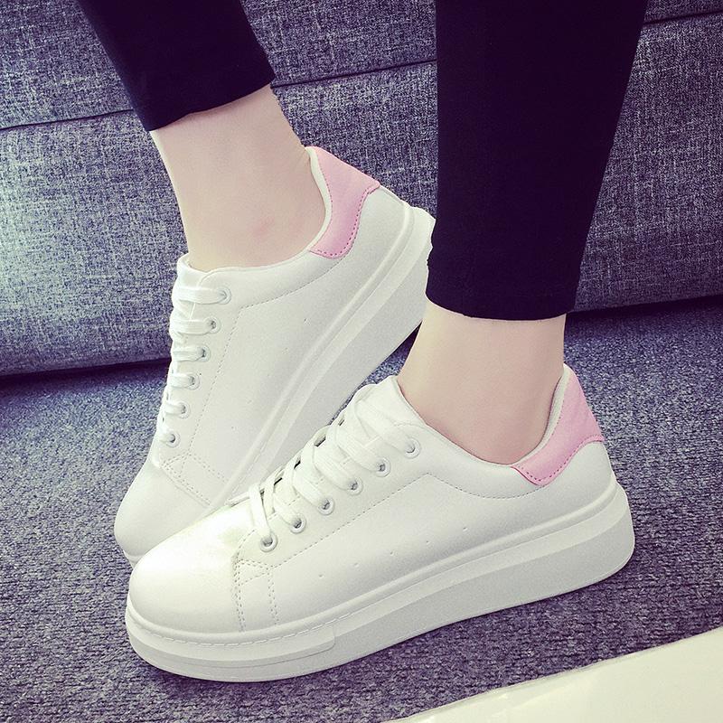 透气夏季底板运动鞋学生韩版春小白鞋女厚休闲鞋女鞋跑步鞋子