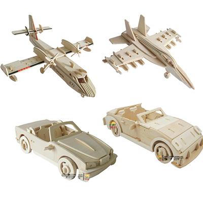 木头汽车儿童立体拼图玩具批发7-10-12岁小男孩子益智木质3d模型