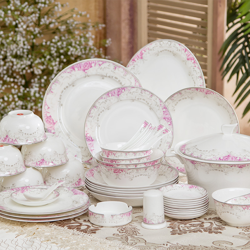 头欧式陶瓷器餐具欧式金边碗碟盘子唐山骨瓷礼品套装