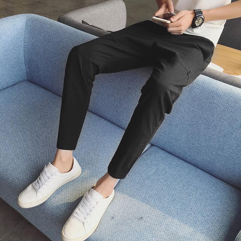 休闲裤潮男日系春季黑色修身小脚青少年分哈伦裤