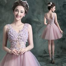 新娘结婚敬酒晚宴年会短款 婚纱小礼服624Q冬季 粉紫色伴娘装