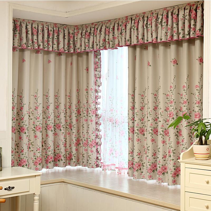 定制窗帘田园客厅温馨卧室粉色
