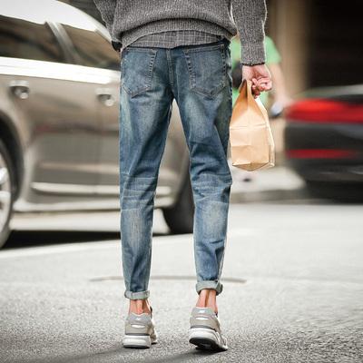 唐狮新春牛仔裤男修身型加厚小脚弹力青少年裤子男 牛仔裤子韩版