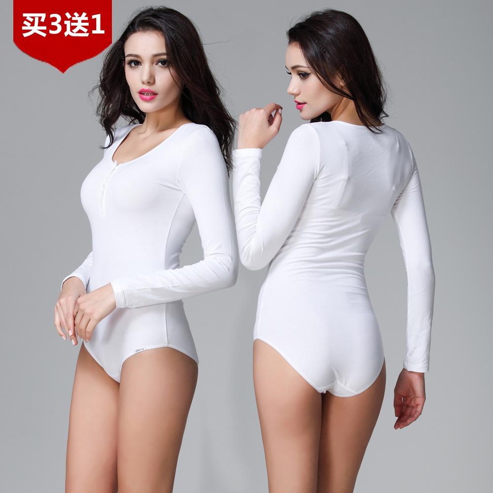 德国纯棉连体衣 女式美体束身保暖衫 大码长短袖塑身连体打底内衣