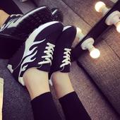 2016春季厚底阿甘平底白色运动鞋休闲鞋潮女鞋韩版跑步鞋学生黑色