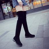 2016秋冬季过膝长靴女瘦腿弹力靴显瘦平底女靴高筒长筒靴子过膝靴