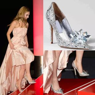 慧美姿新娘鞋高跟鞋灰姑娘水晶女鞋
