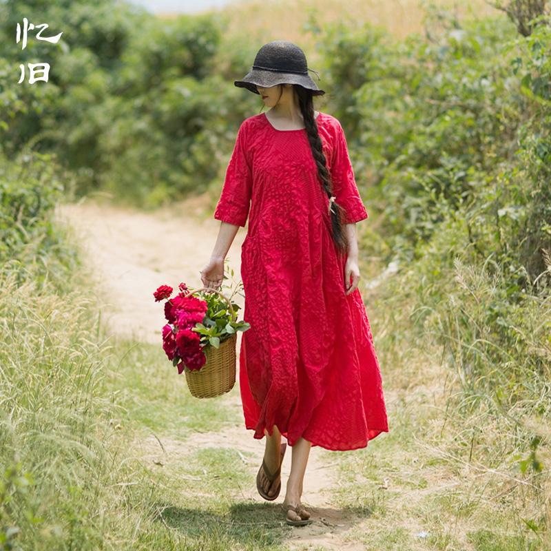 忆旧2017夏装新款复古文艺褶皱田园风长裙 宽松盐缩棉质连衣裙女