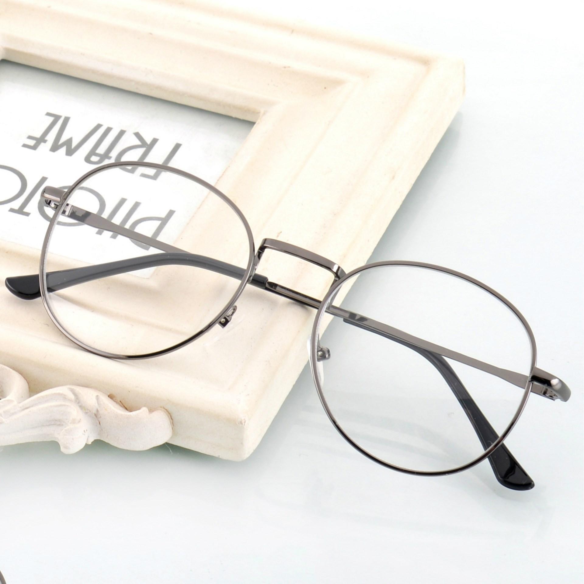 韩国文艺圆框眼镜双梁复古金属平潮人镜男女透明圆形连体框架眼镜