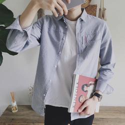 夏季青少年学生长袖衬衫男纯棉修身韩版潮流帅气百搭休闲男生衬衣