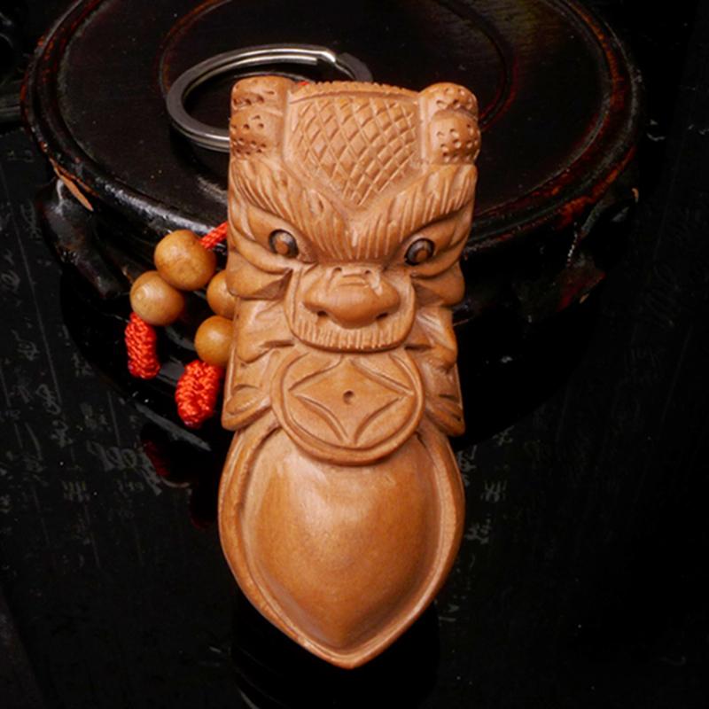 龙义开光桃木花生龙头钥匙扣木雕配饰工艺品手把件随身携带200667