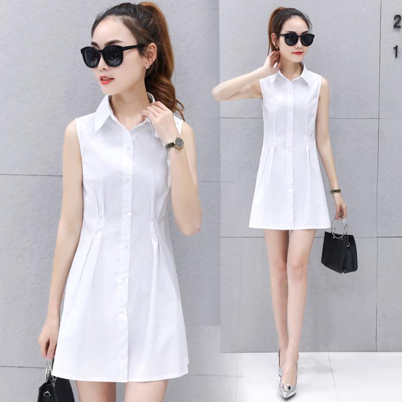 時尚純色夏季長款上衣修身打底女裝連衣裙襯衫無袖