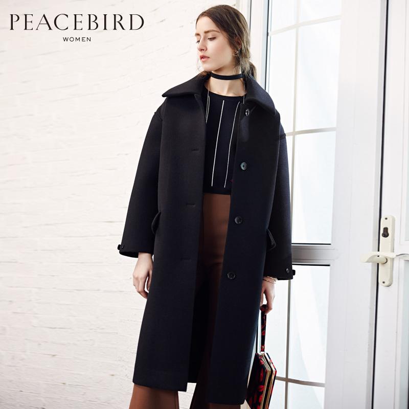 【清仓】太平鸟女装冬装新款呢子大衣中长款直筒羊毛显瘦毛呢外套