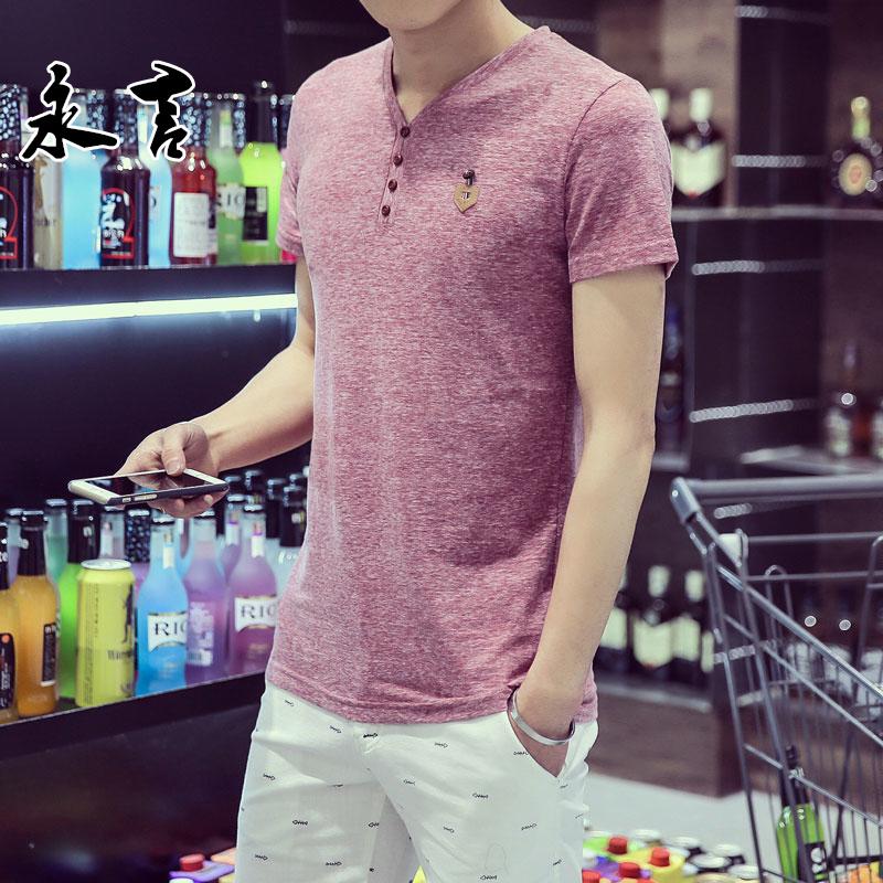 夏季亚麻短袖T恤男棉麻t恤潮男装纯色V领衣服男士修身打底衫青年