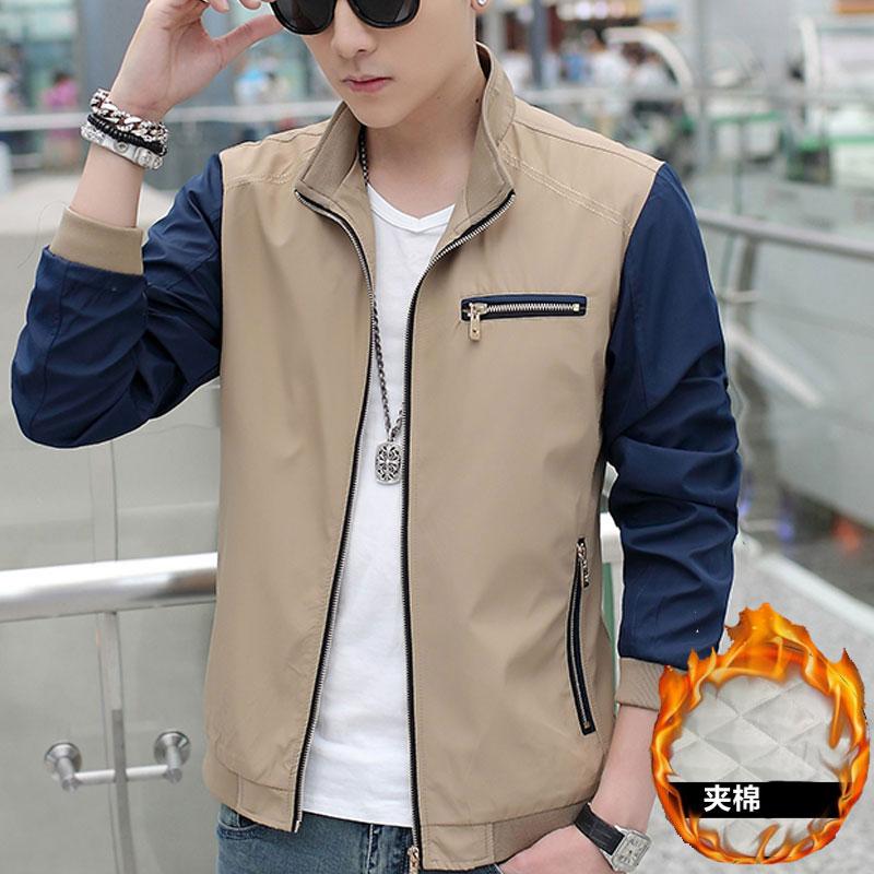 冬季外套男 2016新款纯色立领青年加厚韩版修身男士夹克男装上衣