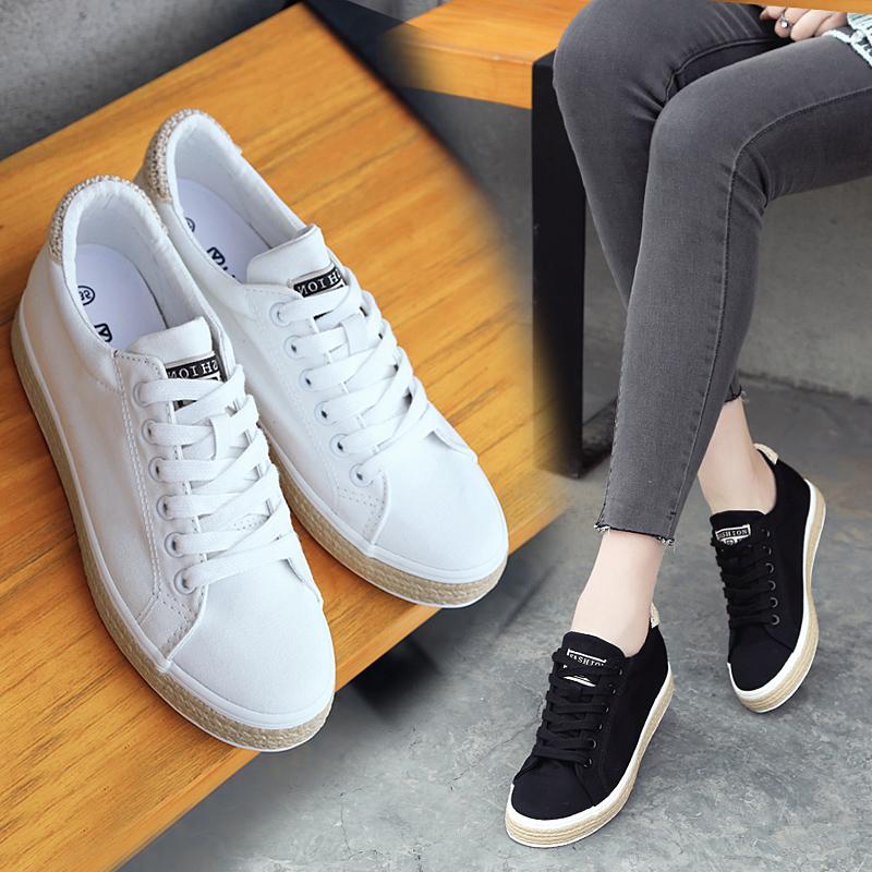 休闲鞋小白鞋单鞋学生女鞋女春款增高运动帆布鞋