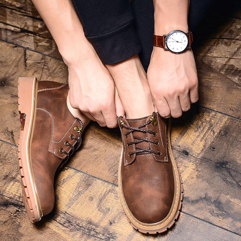 英伦大头皮鞋男工装鞋子男士休闲皮鞋复古低帮马丁鞋男鞋秋季潮鞋