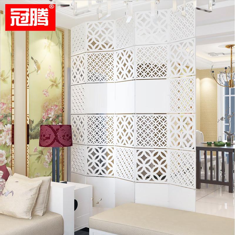 冠腾现代简约客厅挂式折叠屏风镂空白色餐厅隔断玄关