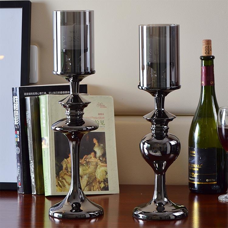 简约现代欧式复古新古典浪漫创意高档高脚玻璃黑色烛台摆件