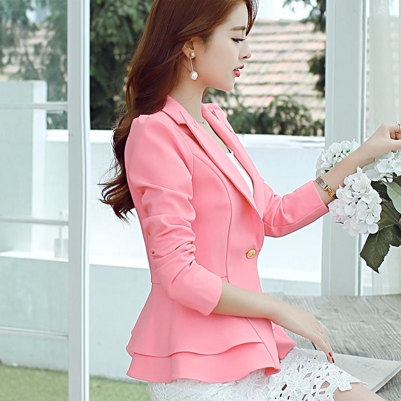 彩黛妃2017春夏新款女裝韓版西裝外套女時尚荷葉邊長袖修身西裝女