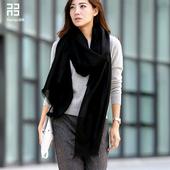 润帛2017新款 春秋冬季韩国黑色羊毛围巾披肩女纯色韩版两用超长