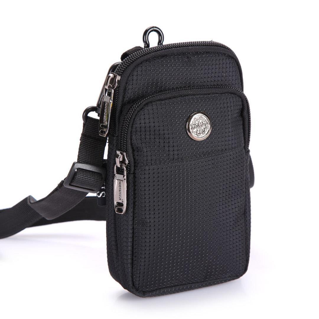 玺锉箱包 男士运动手机腰包休闲零钱包穿皮带多功能挂包 5.5/5.7