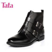他她女鞋 冬季牛皮方跟圆头女短靴3U402DD6 聚Tata