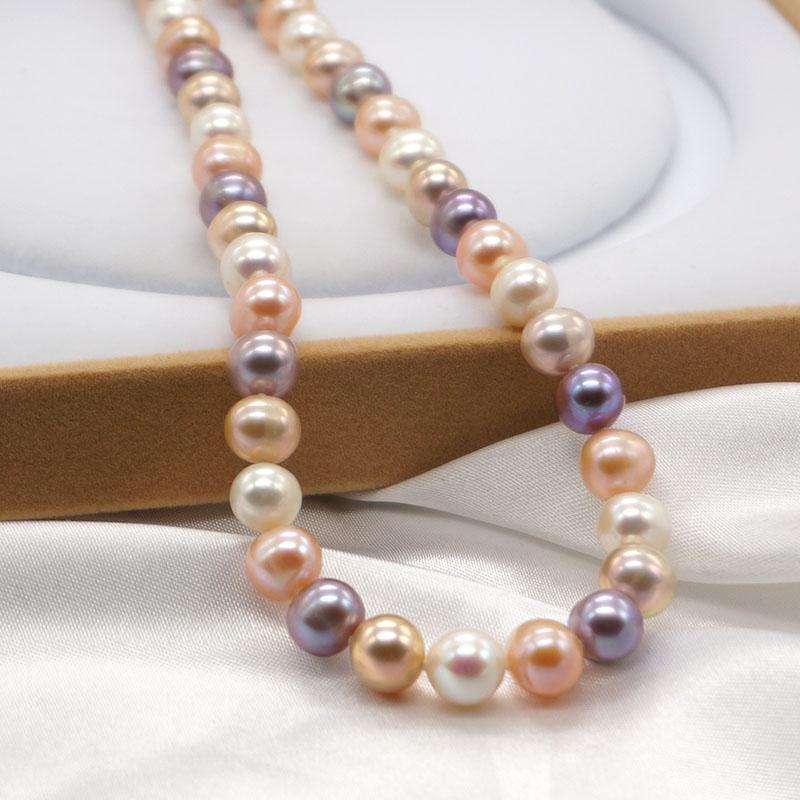送妈妈正品包邮天然淡水珍珠项链近圆强光粉紫彩白色珠宝首饰