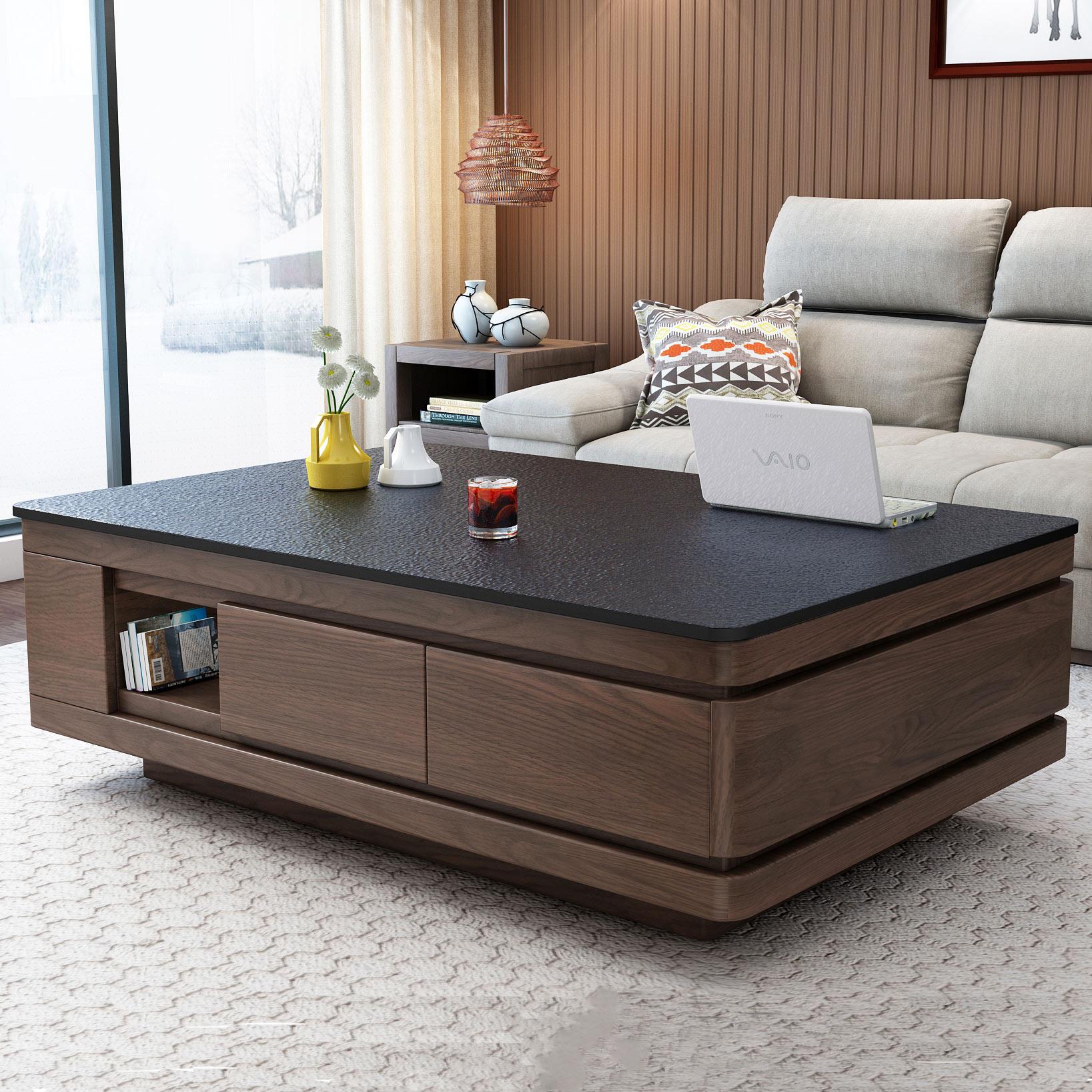 简约现代北欧创意大理石茶几火烧石电视柜组合美式多功能客厅家具图片