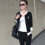 秋装新款韩版立领卫衣开衫外套纯色百搭棉质时尚运动休闲套装女