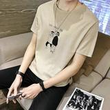 短袖男士t恤韩版修身半袖体恤帅气修身学生夏季新款潮流上衣服男