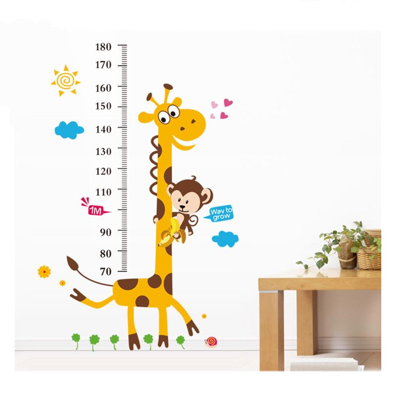 儿童房幼儿园卡通可爱动物身高贴第三代可移除墙贴房