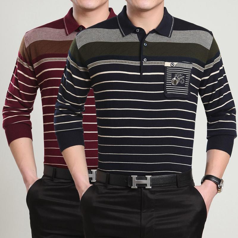 长袖男装品牌羊绒中年翻领休闲加肥加大码纯色恤衫中国文化T恤