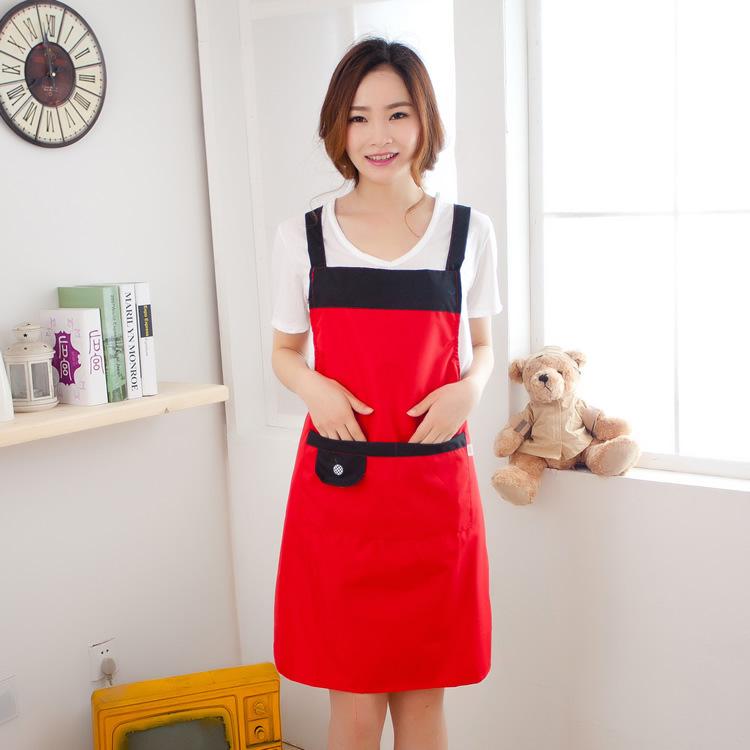 厨房防水防污围裙日韩版简约时尚围裙 防油成人罩衣围腰女工作服