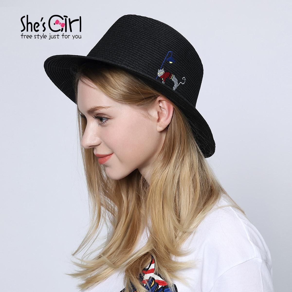 Shesgirl茜子配饰 猫星人系列时尚户外圆边休闲渔夫帽子遮阳帽