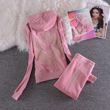 韩版运动服休闲套装 秋长袖天鹅绒卫衣套装女款金线刺绣花 镶水钻