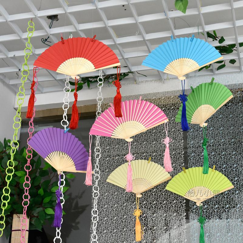 创意纸扇吊饰 幼儿园教室走廊空中装饰