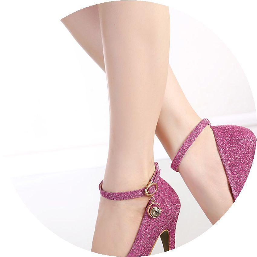 圆头单鞋女性感细跟浅口超高跟鞋防水台韩国公主时尚扣带女鞋婚鞋