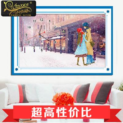 蒙娜丽莎十字绣精准印花十字绣客厅画大幅新款钟表浪漫情侣系列