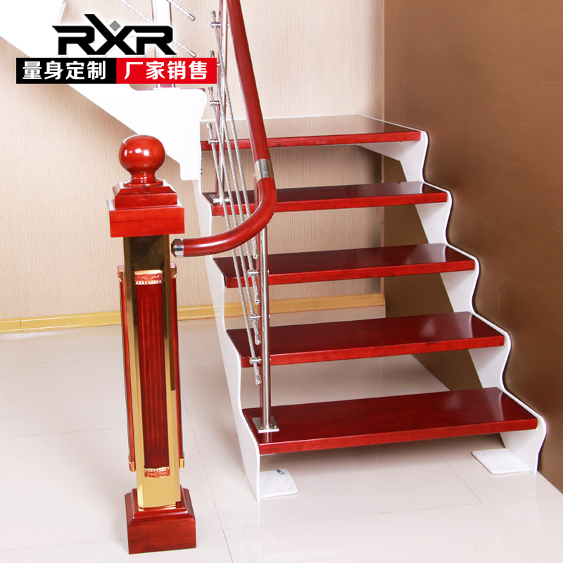 室内整体别墅阁楼钢木复式斜梁跃层双梁旋转楼梯实木踏步板木梯子