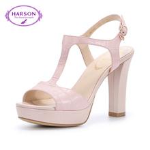哈森夏通勤石头纹羊皮革  粗跟高跟露趾凉鞋女 HM62442图片